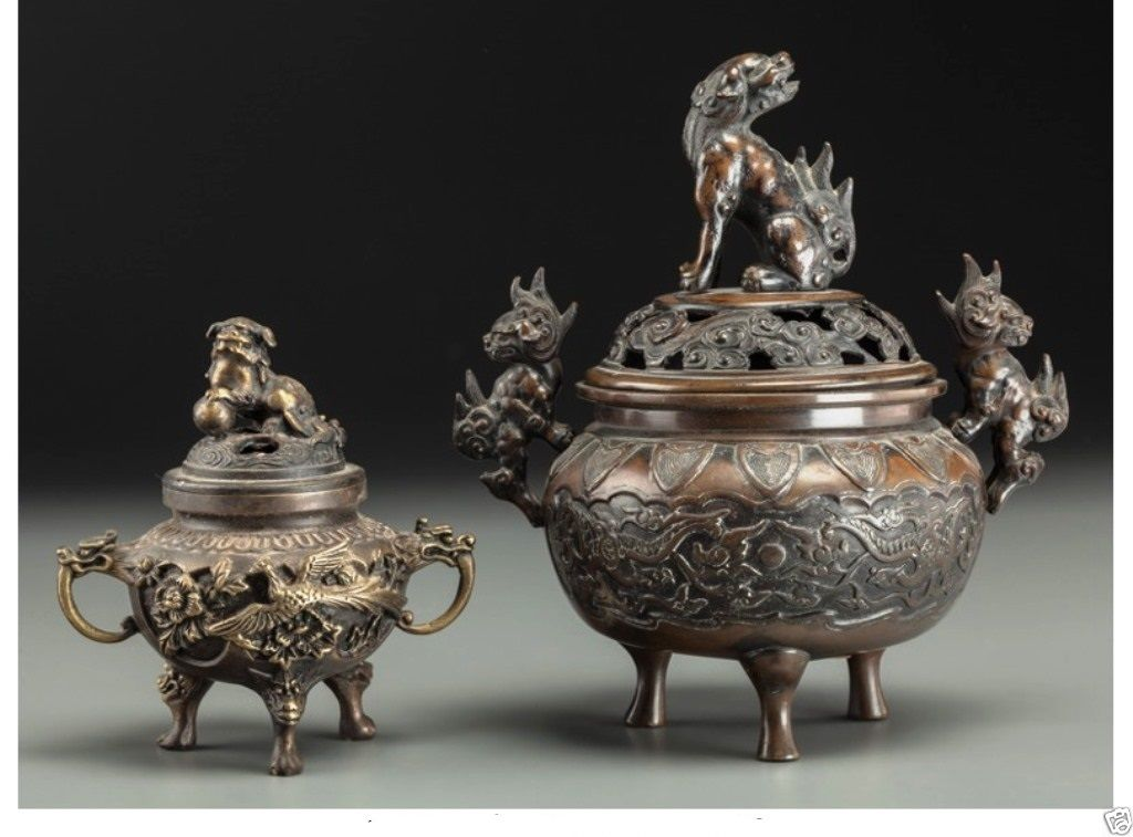 A028 two Chinese Bronze Lidded Censers with Foo Dog & Dragon Mot