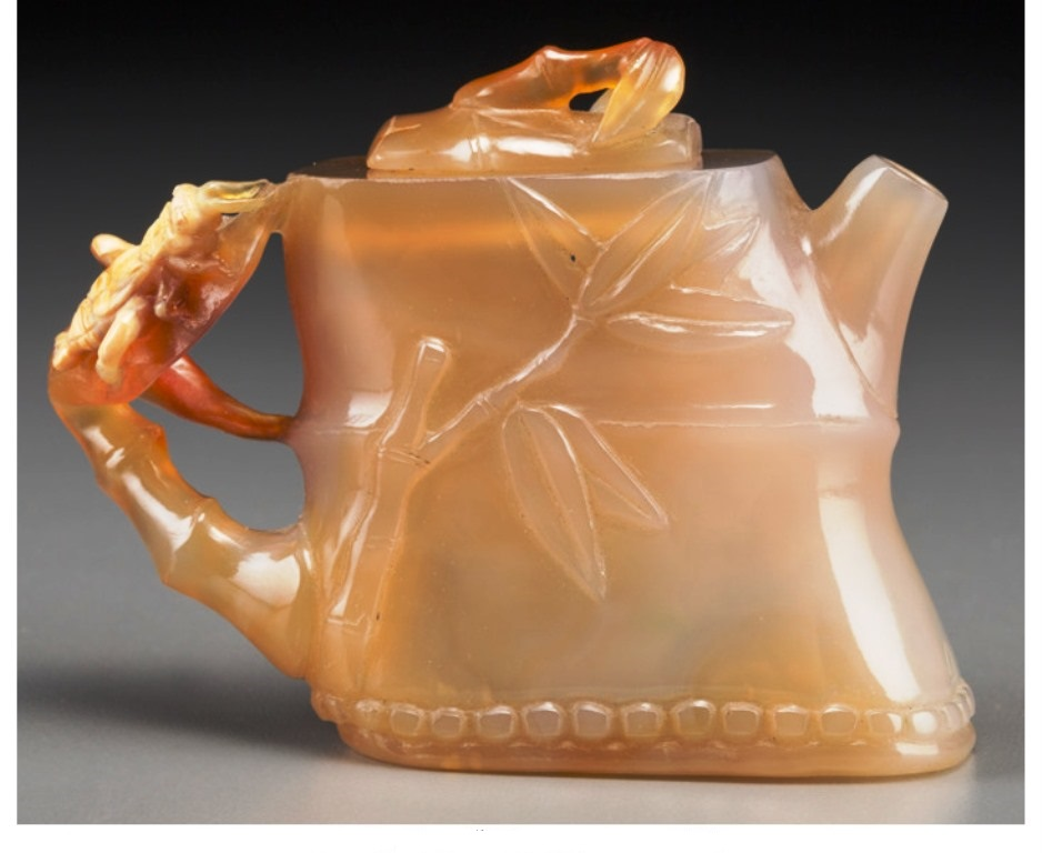 JADE058 Estate Chinese Carved Agate Bamboo-Form Teapot. late 19t