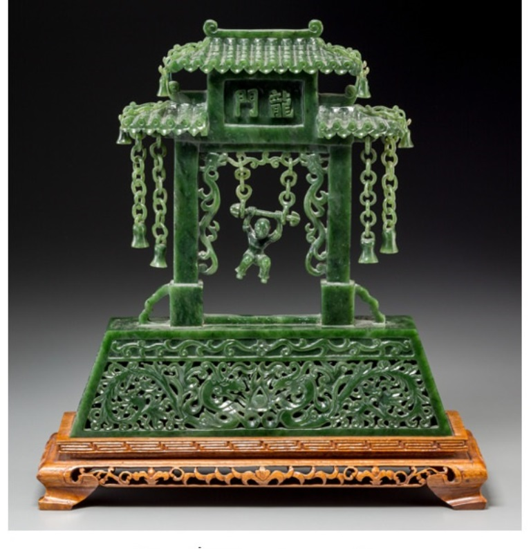 Jade059 A Estate Chinese Carved Spinach Jade Gate with Swinging
