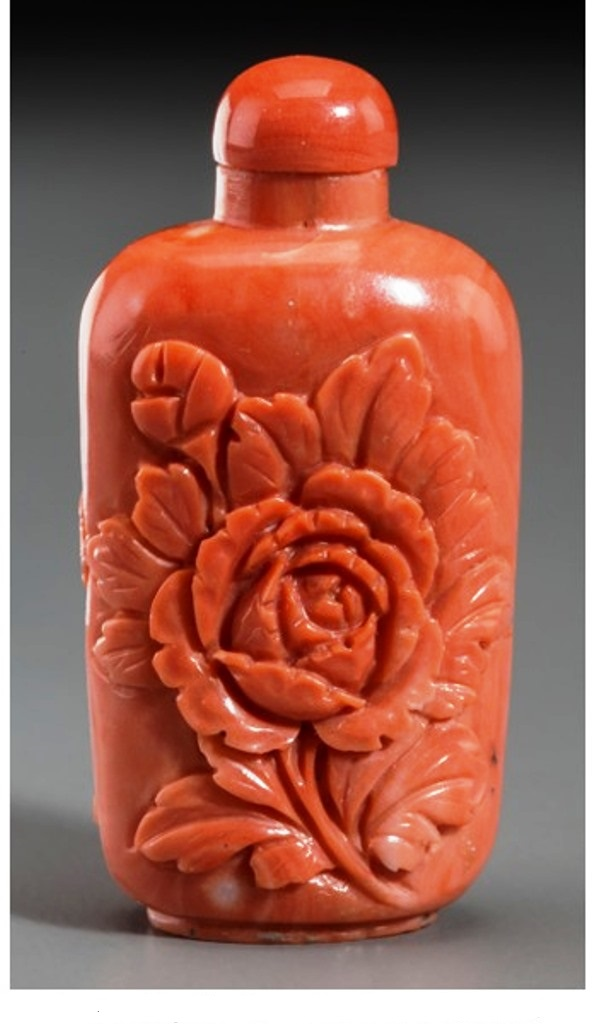 S025  Chinese red coral peony snuff bottle,19th Century